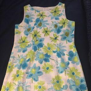 Coldwater Creek linen sheath dress, beaded - 14P